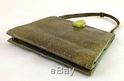 Art Deco Green Snakeskin Handbag with Bakelite Clasp Silk & Kid Lined