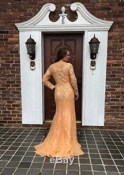 Art Deco Nude Vtg Lace Appliqué Beaded Maxi Mermaid Gown Alt Wedding Dress M 10