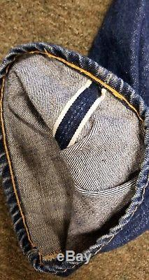 Auth Vintage 1950's LEVI'S 501 XX Concealed Rivet RED LINE Big E OFF CENTER LOOP