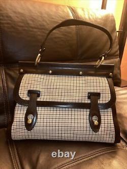 BALLY Plaid Cloth Handbag/purse with Brown Leather Trim Vintage RARE VGUC