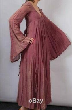 BIBA angel wizard sleeve MAXI DRESS Size 10 Mauve cotton muslin VTG Empire line