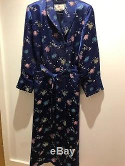 Beautiful Ladies Vintage Chinese Blue Silk Long Dressing Gown, Lined 38 UK 14