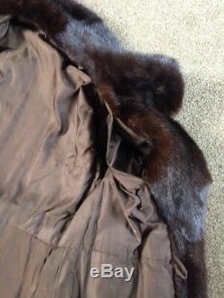 Beautiful! Lined Dark Brown Three Quarter Length/ Long Mink Fur Coat