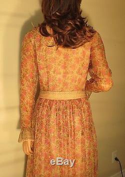 Beautiful Womens Vintage Treacy Lowe 100% Silk Long Evening Dress Gown 2/4/6/8