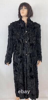 Black curly Persian lamb Fur, Long Dress Coat SZ M Vintage luxurious & authentic