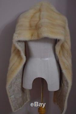Blond Mink Real Fur Lined Stole Wrap Shrug Wedding Cape Bolero Scarf 75(l)x12.5