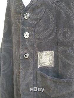 Bluefish Artist Studio Velveteen Coat Upholstery Cloth A-Line Oversized Black