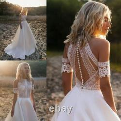 Bohemian Wedding Dresses Lace Satin Bridal Gowns Button Back A-Line Dress