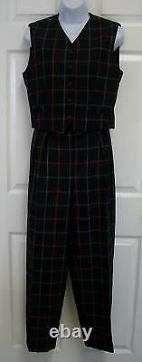Burberrys Vintage Sleeveless Navy Plaid Wool 2 Piece Pant Dress Suit Vest Top 6