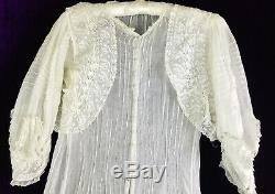 C 1900 Cotton Gauze Dress Lace Bolero Princess Seam Embroider Whitework Gibson