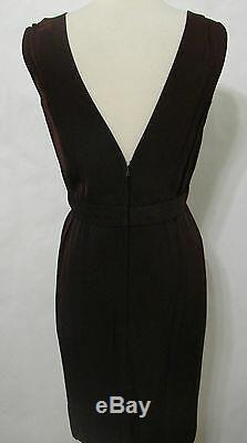 CEIL CHAPMAN Vintage 60s Brown Silk Dual V-Cut Zip Back Lined Short Dress 36