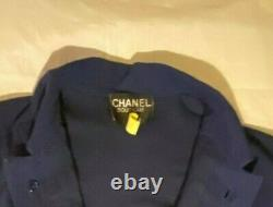 CHANEL DRESS Vintage Navy Blue Small Clover Gold Buttons Size 44/46