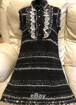 CHANEL VINTAGE 38 4 6 TWEED BOUCLE Black Sweater DRESS Coat Cardigan Top 36 S M