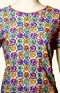 $ CHANEL Vintage 00s Print Logo Cc 36 38 40 4 6 8 Tank Swim SUIT Dress Top Shirt