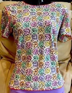 $ CHANEL Vintage 00s Print Logo Cc 36 38 40 4 6 8 Tank Swim SUIT Top dress Shirt