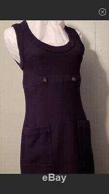 $ CHANEL Vintage 90s Blue Logo 36 38 2 4 6 S Mini 95p DRESS Skirt Suit Bag Top M