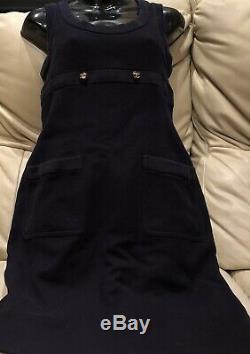 $ CHANEL Vintage 90s Blue Logo 36 38 2 4 6 S Mini DRESS Top Skirt Suit Bag M 95p