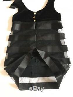 CHANEL Vintage Solid Black Velvet Atlas Cocktail Mini Dress Lining Sz EU 36 US 4