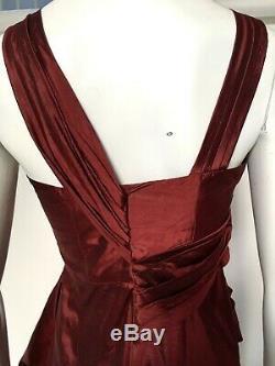 CHRISTIAN DIOR BOUTIQUE VINTAGE Red Crushed Silk Tea Length Dress Fr 42 UK 14