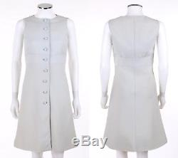 COURREGES Couture Future c. 1968 2 Pc Light Blue Wool Jacket A-Line Dress Suit
