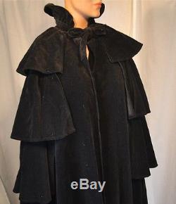 Cape full length black velvet lined one size vintage reenactment