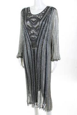 Capriccio Womens Vintage Beaded Long Sleeve Crochet A-Line Blue Dress Size 10