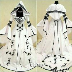 Celtic Black White Wedding Dress with Hat A Line Vintage Long Sleeve Bridal Gown