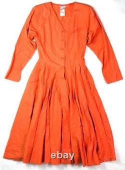 Chacok France Vintage 1970's Pietrouchka Orange Cotton Pleated A-line MIDI Dress
