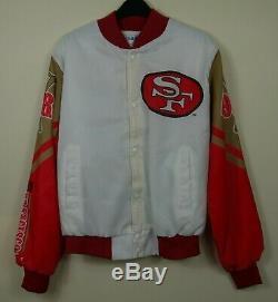 Chalk Line San Francisco 49ers Vintage Fanimation Satin Jacket Red White Size M
