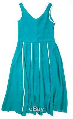 Chanel 98c Collection Vintage Green Sleeveless Piped A-line MIDI Dress Medium