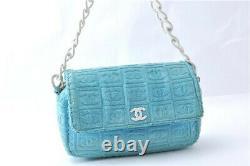 Chanel Bag Handbag Purse Shoulder Messenger Flap Terry Cloth CC Logo 00s Vintage