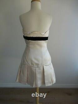 Chanel Dress Strapless Corset A-Line Pleat Ivory Satin with Black Vintage (38/XS)