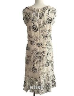 Chanel Vintage White and Black Camellia Ruffled Paillette Dress Size 42