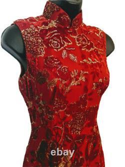 Cheongsam Silk Velvet Dress Red Gold Chinese Traditional Wedding Lined Vtg Roses
