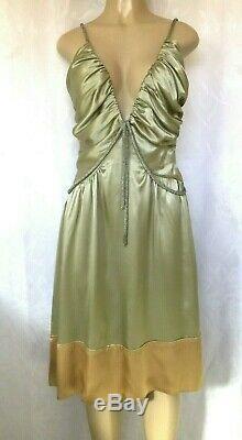 Chloe Silk Dress 2005 Beaded Green Gold S Spaghetti Strap S line Vintage Mini