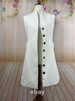 Christian Dior Paris Vintage Long Sleeveless Button Cream Ivory Vest Dress