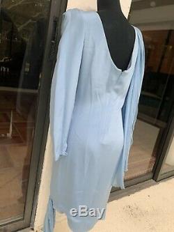 Christian Dior Robes Du Soir Vtg 1980s Blue Silk Dress Sz 4