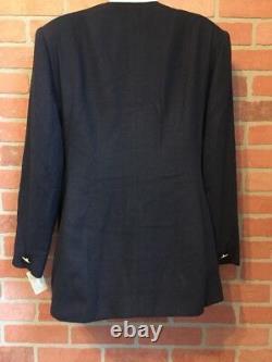 Christian Dior Womens Blazer Dress Jacket 14 Vtg NWT Blue withGold Buttons (M43)