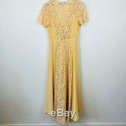 Christy Dawn Free People Fitzgerald Silk Vintage Gold Maxi Gown Dress Medium HTF