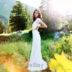 Country Vintage Boho Wedding Dress Short Sleeve V-neck A-line Modest Bridal Gown