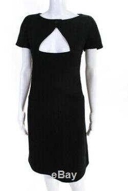 Courreges Womens Vintage Wool Short Sleeve Keyhole A-Line Dress Black Size 44 IT