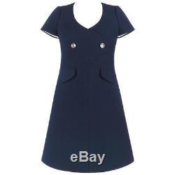 Couture COURREGES Paris c. 1960's Navy Blue Wool Mod A-Line Dress