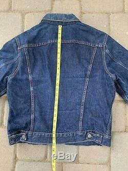 DARK INDIGO Vintage 60s Levis Type 3 Trucker Big E Denim Jacket BLANKET LINED