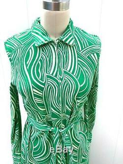 DIANE VON FURSTENBERG 1970s Vintage A line ZIP DRESS SIZE M Green Swirl Print