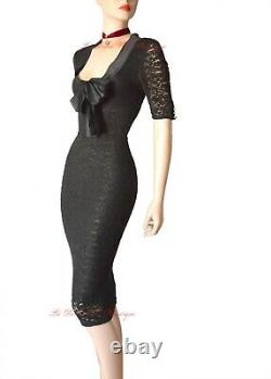 DOLCE & GABBANA D&G vintage 1990s black lace1950s bow DRESS size UK 12 USA 8 44
