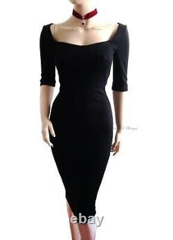 DOLCE & GABBANA DG vintage 90s black pencil 50s pinup DRESS size UK 10 USA 6 42