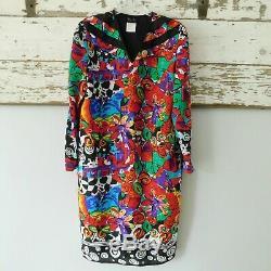 Diane Freis Vintage 80s Medium Georgette Dress, Multicolor Shift, Lined L/S EUC