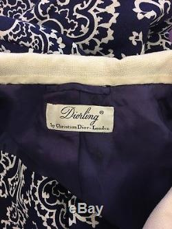 Dior Vintage1950s Linen A-line Paisley Dress Coat 10-12 One Of A Kind