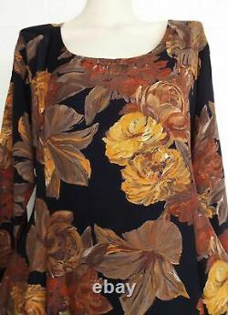 Dress To Kill Jane Mohr OS Fall Garden princess seam fit flare maxi dress VTG