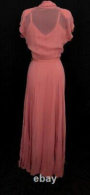 DuBarry New York Vintage 1940s Coral Evening Gown Dress Fully Lined Full Sweep